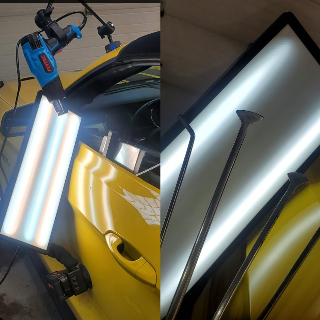 Spilt image with light system set-up and the 4 tools used in paintless dent repair