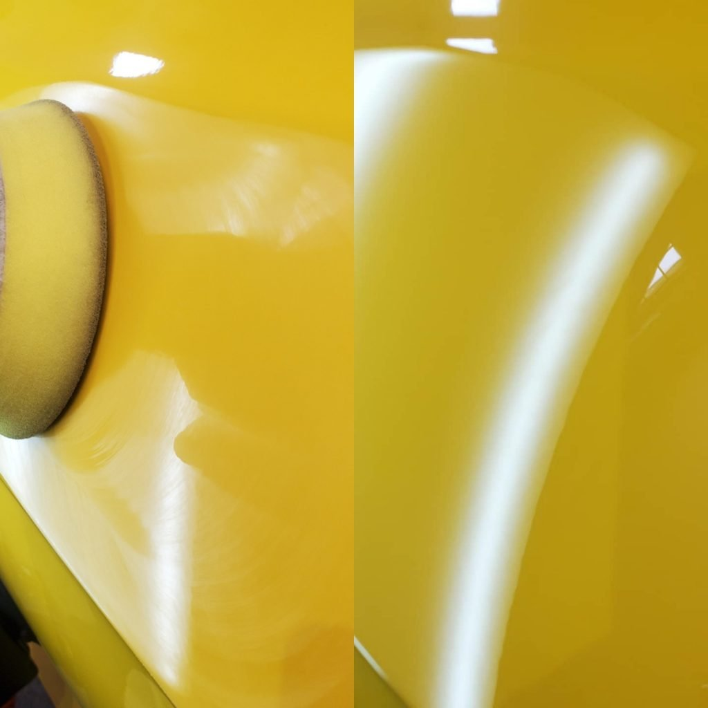 after image of the dent removal service showing complete repair of the dent on the door panel